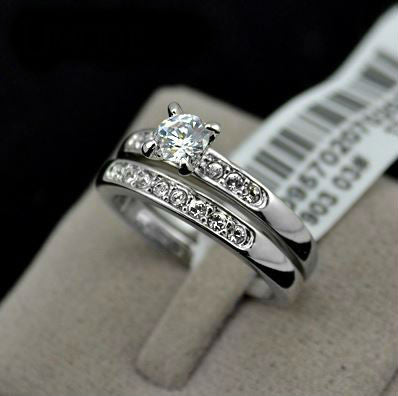 Rose / White Gold Plated Wedding Rings [2 Pcs]