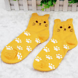 Candy Colored Cat Footprint Socks