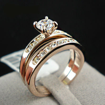 Rose / White Gold Plated Wedding Rings [2 Pcs] - Free Plus Shipping