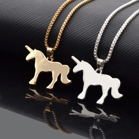 Unicorn Pendant / Necklace - Gold Or Silver Metal