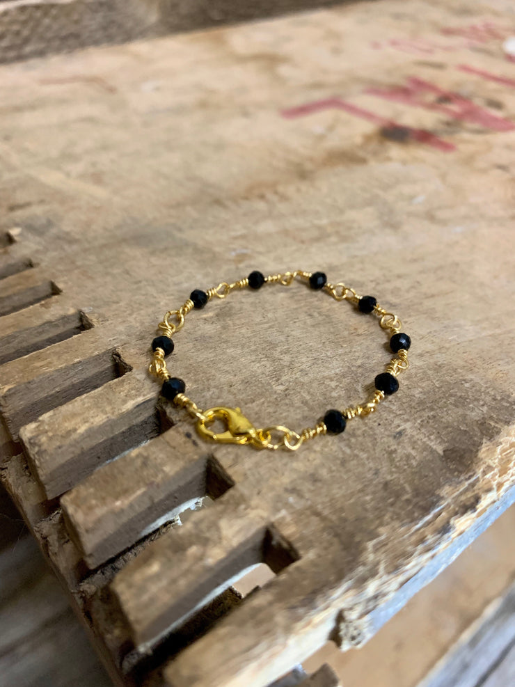 Black crystals + Gold chain
