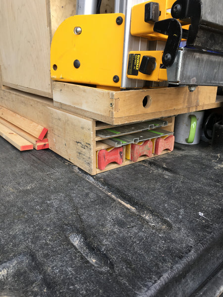 Saw guide rail, level storage box