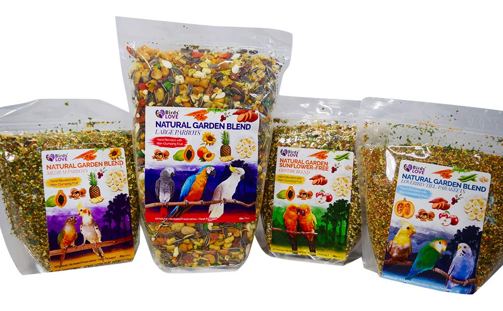Try all Four of Birds LOVE Natural Garden Blends for every size of parrot!