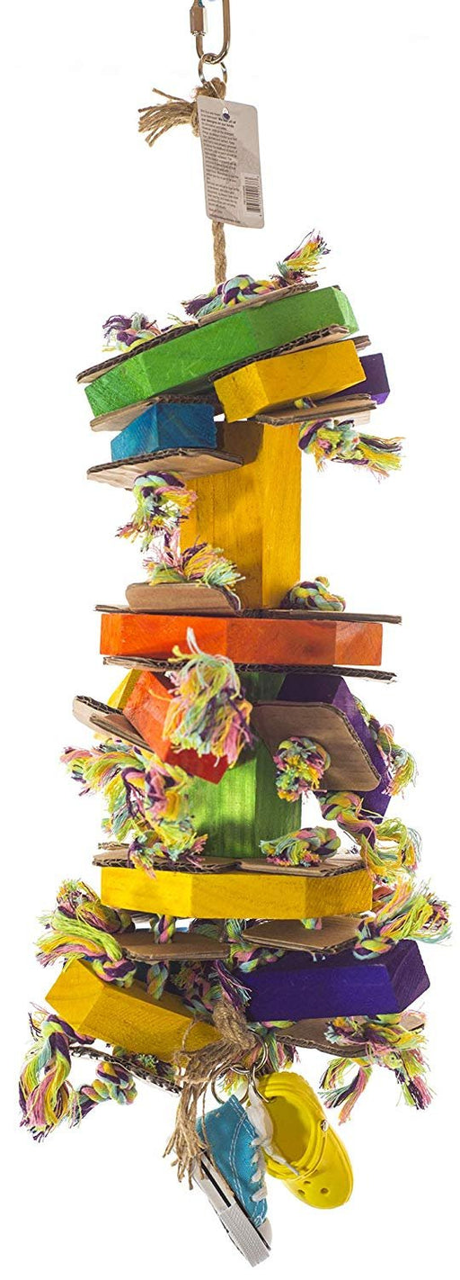 Birds LOVE Wood Rope Bird Toy Octoblock for Bird Cage African Grey Macaw and Cockatoo w Sneaker Rubber Sandal and Cardboard - MD/LG with Cardboard