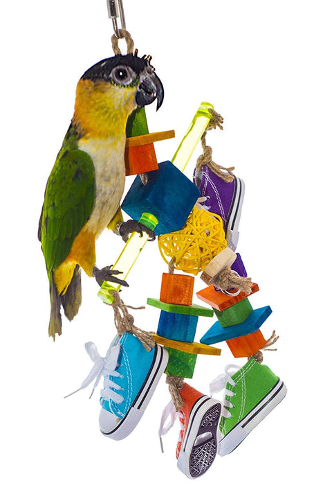 Birds LOVE Bird Toy Sneaker Sisal Acrylic Dowel Wood Blocks Vine Ball for Caique, Sun Conure, Amazon Parrot, Mini Macaw, Small to Medium Bird Cage