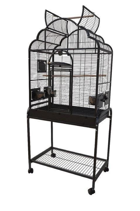 HQ 28x18x54 Opening Victorian Top Bird Cage with Stand - Platinum White