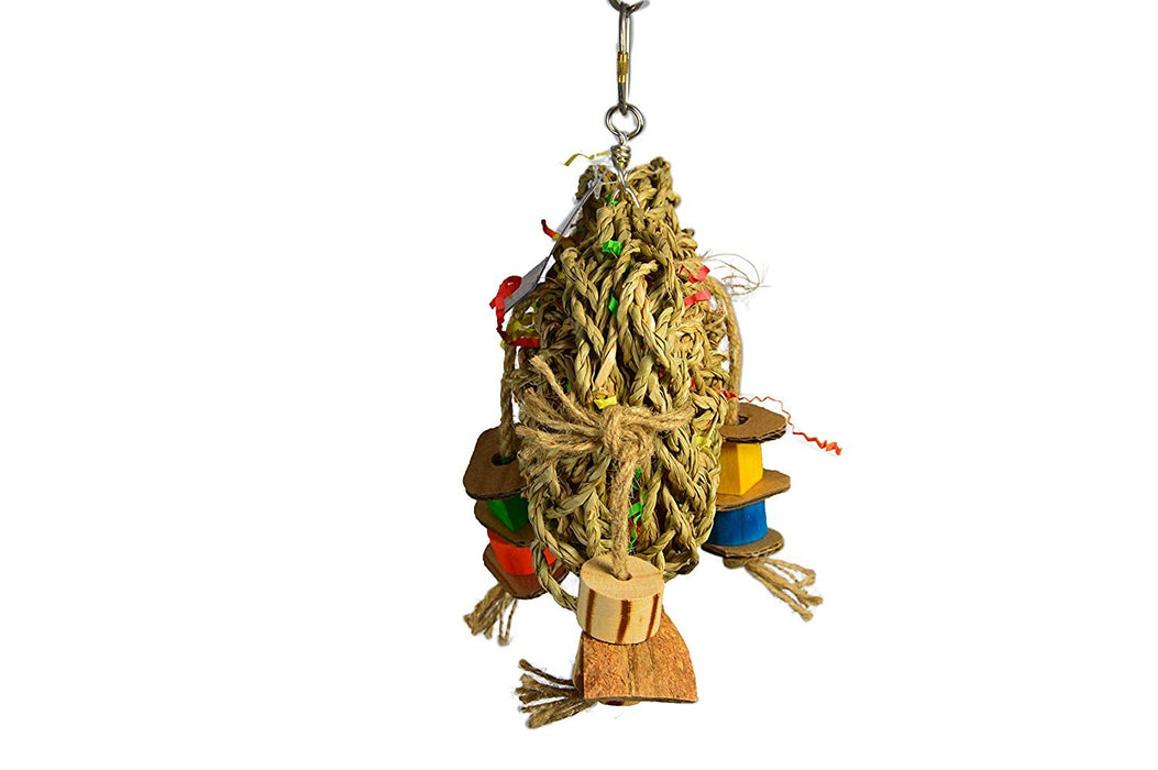 "Birds LOVE Small Seagrass Foraging Pouch Toy w Wood Toys on Natural Rope, Forage Hanging Chewing Fun for Conures Cockatoos Cockatiels – 10"" x 8"""