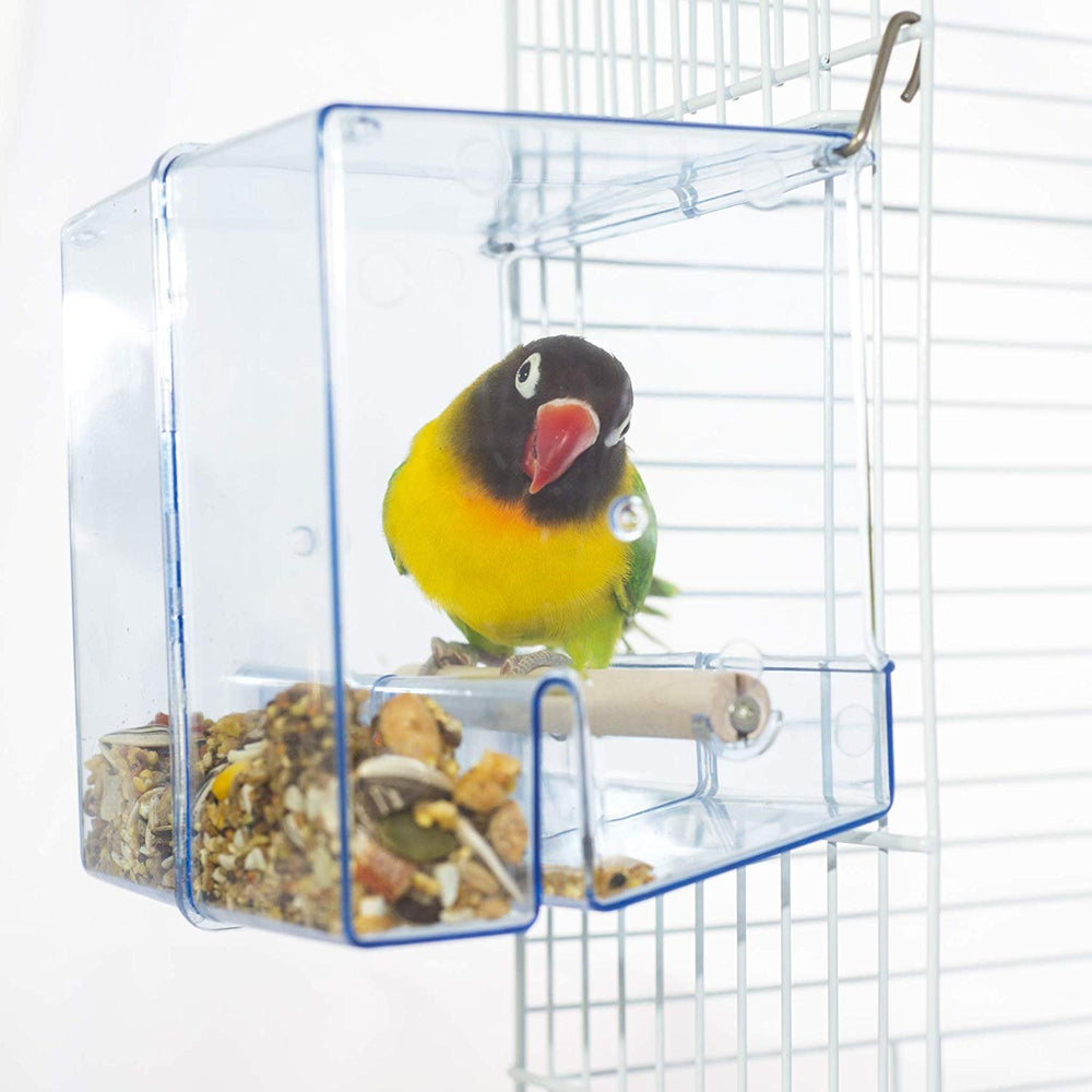 Birds LOVE Bird Feeder Seed Catcher Tray Hanging Cup Food Dish for Cage for Small Birds Lovebirds Cockatiels Canaries Sun Conures (Blue)