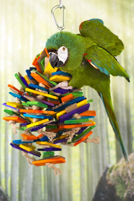 Birds LOVE Bird Toy Lots of Wood Slats Cardboard and Sisal for African Grey Cockatoo Mini Macaw for Bird Cage