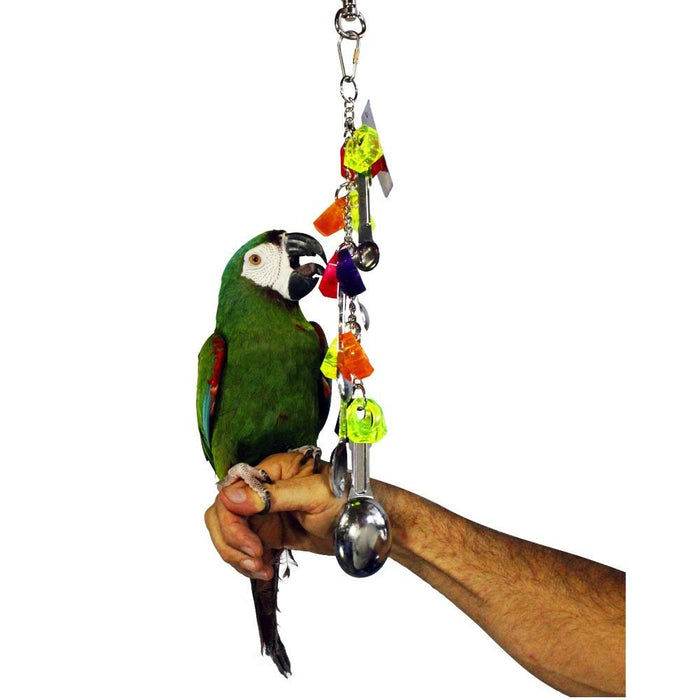 Birds LOVE 2 Bird Toys Acrylic Jewels Stainless Spoons Straight Bird Safe Chain Small and Medium Birds for Bird Cage (2 Pack)