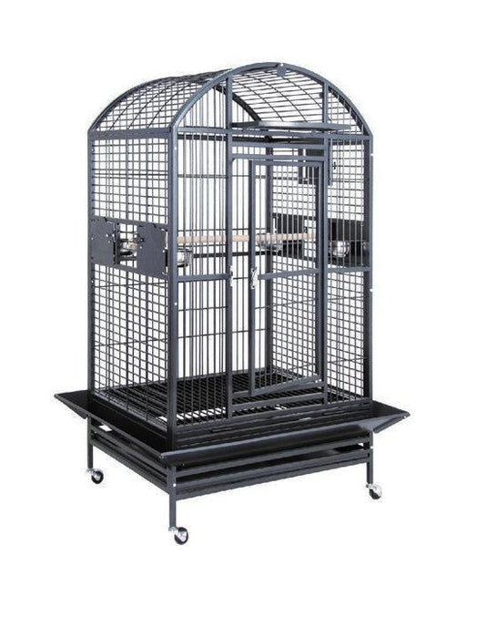 HQ 36x28x68 Dome Top Bird Cage with Drop Front - Black