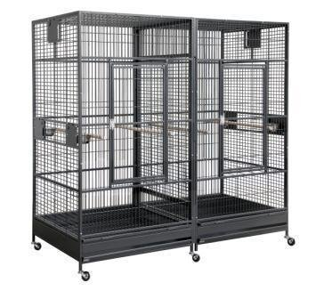 HQ Colossus Bird Cage 80x40x75 with Divider  - Black