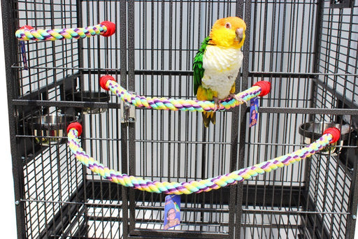 "Birds LOVE Cotton Rope Comfy Cable Perches for Birds 23"" Length – For Cockatiels, Parrotlets, Conures, Caiques, Quakers & Similar Sized Birds – 2 Pack"