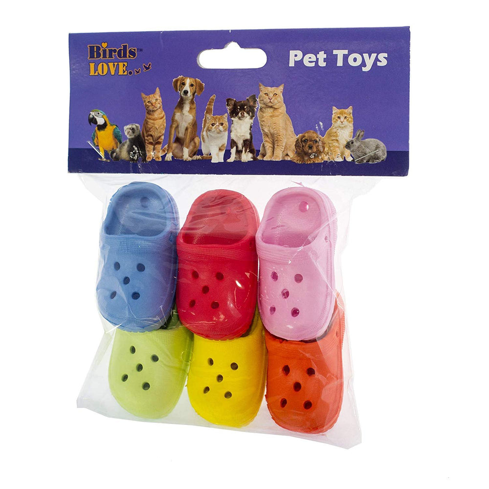Birds LOVE 6 Pack Mini Rubber Sandal Toys for Birds, Cats, Ferrets, Rabbits, Guinea Pigs and Small Animals - Mini Rubber Clogs