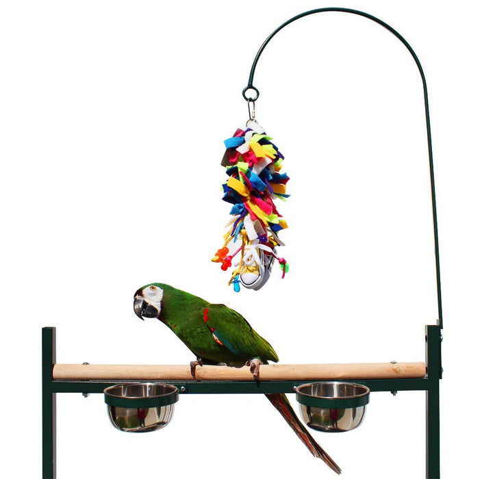 Birds LOVE Stainless Steel Tray, Non-Toxic, Powder Coated Parrot Playstand with Perch, Toy Hook and Stainless Steel Cups - Green