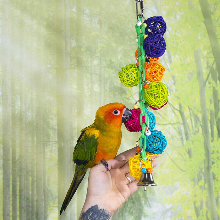 Birds LOVE 3-Pack Vine Ball Small Bird Toy Plastic Chain Tiny Acrylic Beads Electroplated Metal Rings, Bell for Small Bird Cage