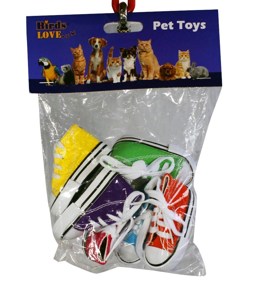 Birds LOVE 6 pk Mini Sneakers Shoes Toys for Birds, Dogs, Cats, Ferrets, Rabbits, Guinea Pigs and Small Animals - Mini Cloth Sneakers