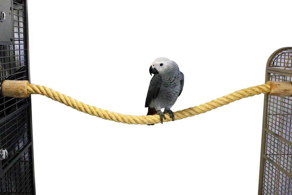 "Birds LOVE All Natural Handcrafted Sisal Perch with Coffeewood End Caps for Large Parrots Cockatoo Macaws Amazons – Size LG 37"" Len x 1.25"" Diam"