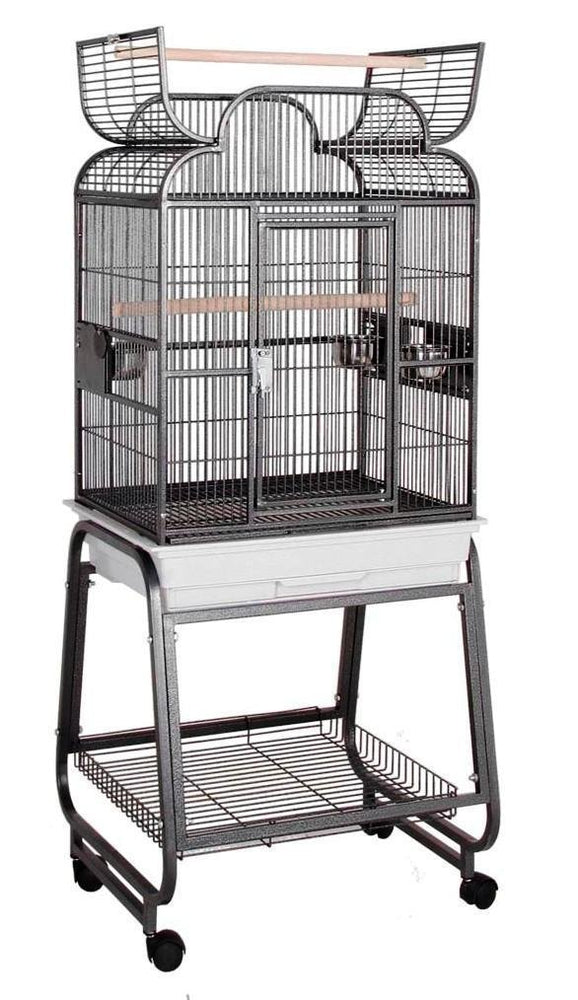 HQ Scroll Top 22x17 Bird Cage and Rolling Stand w Shelf - Platinum White