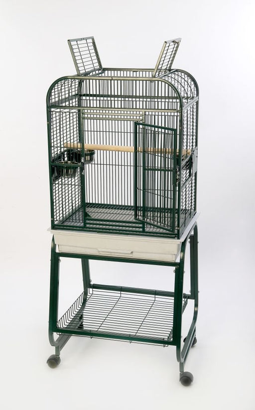 HQ 22x17 Opening Square Top Cage with Cart Stand - Beige