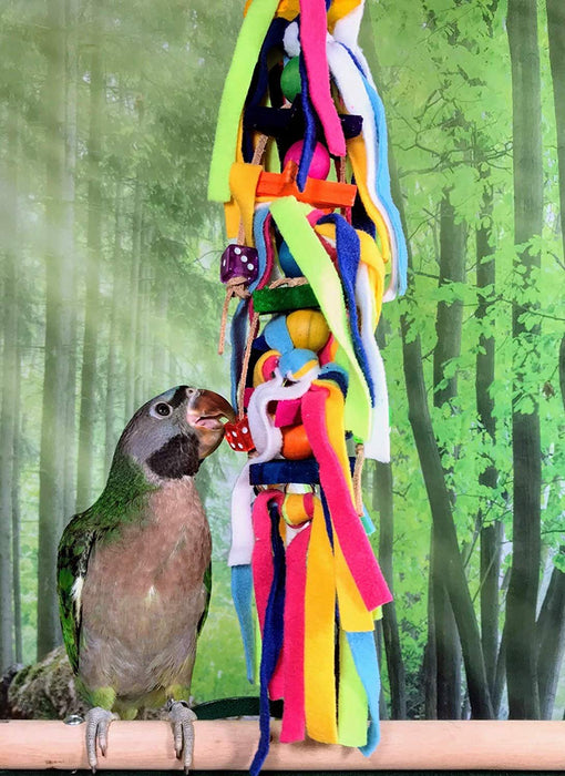 Birds LOVE Preening Chewing Hanging Toy with Fleece Strands Wooden Stars & Acrylic Dices for Bird Cage Stand or Playgym, Small to Medium Cockatoo African Grey Conure Eclectus