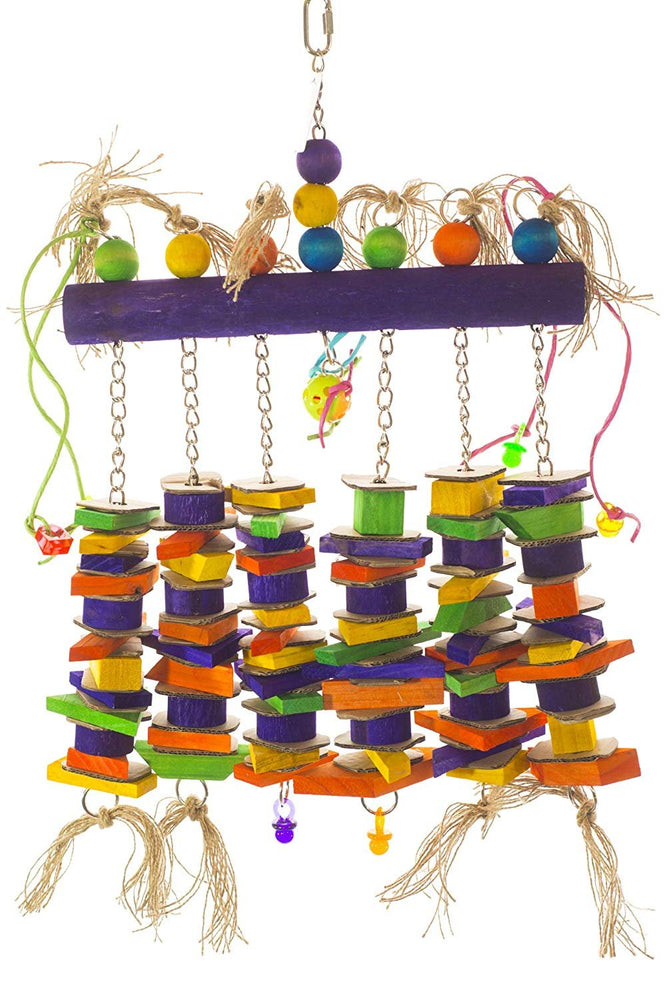 Birds LOVE Wood Log of Hanging Chew Fun Toy w/Added Cardboard for Extra Large Birds - Blue & Gold Macaws, Green-Winged Macaws, Hyacinth Macaw