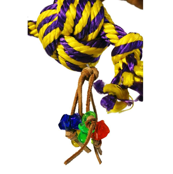 Birds LOVE Hanging Rope Knot Bird Toy w Leather Hanging Acrylic Toys for Medium and Large Birds cage or Gym