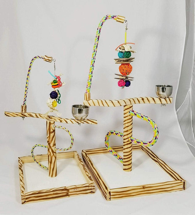 Birds LOVE Bird Play Gym Tabletop w Cup, Toy Hanger and Toy, Javan TigerTail Stand- Large