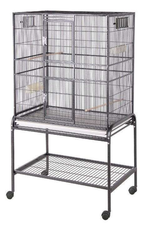 HQ Flat Top Aviary 32x21 Flight Bird Cage - Platinum White