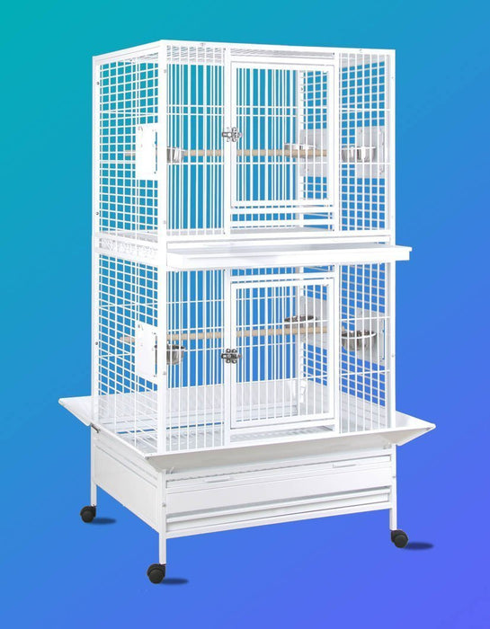 HQ 36x28 Double Stack Cage - Platinum White
