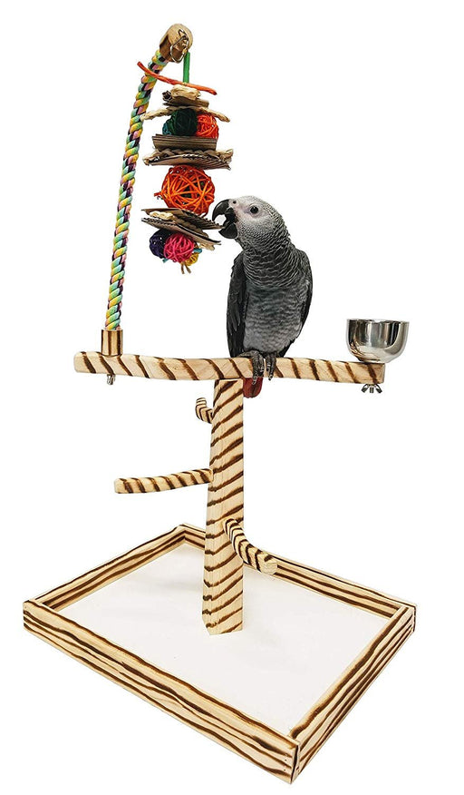 Birds LOVE Bird Play Gym Tabletop w Cup, Toy Hanger and Toy, Bengal TigerTail Stand - Large