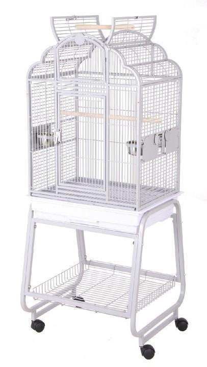 HQ Opening Victorian Parrot Cage with Cart Stand - Platinum White