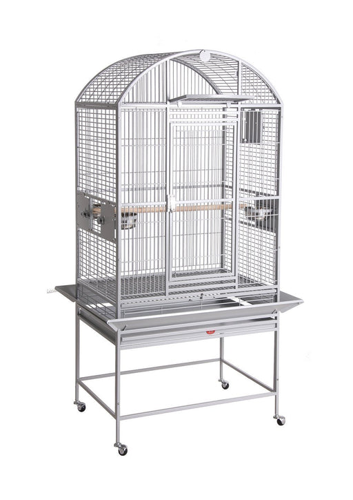 HQ 24x22x60 Dome Top Bird Cage with Drop Front - Platinum White