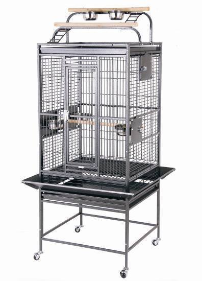 HQ 24x22x60 Double Play Top Bird Cage - Platinum White