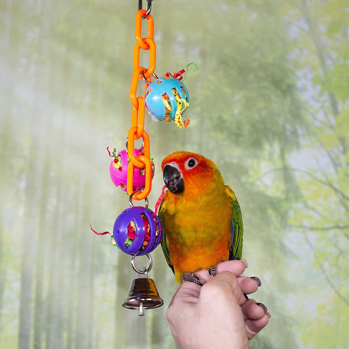 Birds LOVE Bird Toy Small Chain Mini Whiffle Balls with Confetti Lovebirds Cockatiels Parakeets Small Conures Canaries Finch -Set of 3-