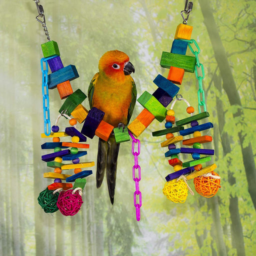 Birds LOVE Bird Toy Bridge with Wood Chain Vine Balls for All Medium Parrots Sun Conures African Greys