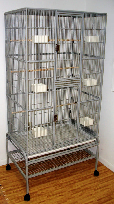 HQ Flat Top Aviary 32x21x65 Tall Flight Bird Cage - Black