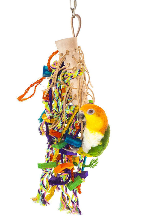 Birds LOVE Leather Rope Wood Bird Toy for Bird Cage for African Grays Cockatoos, Mini Macaws, Amazons