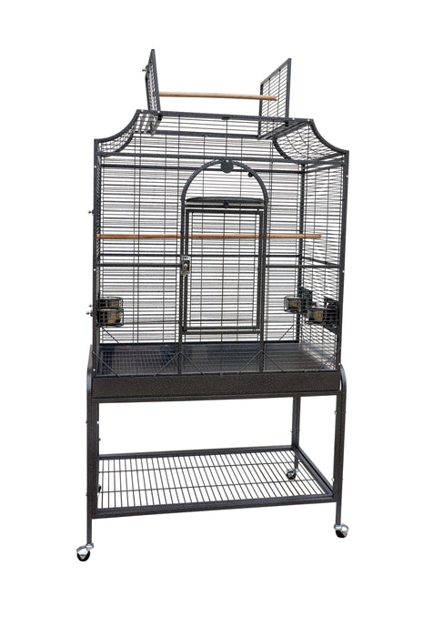 HQ 38x23x69 Opening Scroll Top Bird Cage with Stand - Platinum White