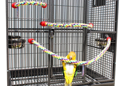 "Birds LOVE Cotton Rope Comfy Cable Perches for Birds 34"" Length – For Cockatiels, Parrotlets, Conures, Senegals, Quakers and Similar Birds – 2 Pack"