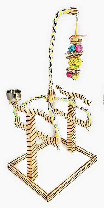 Birds LOVE Bird Play Gym Tabletop w Cup, Toy Hanger and Toy, Bali TigerTail Stand - Large