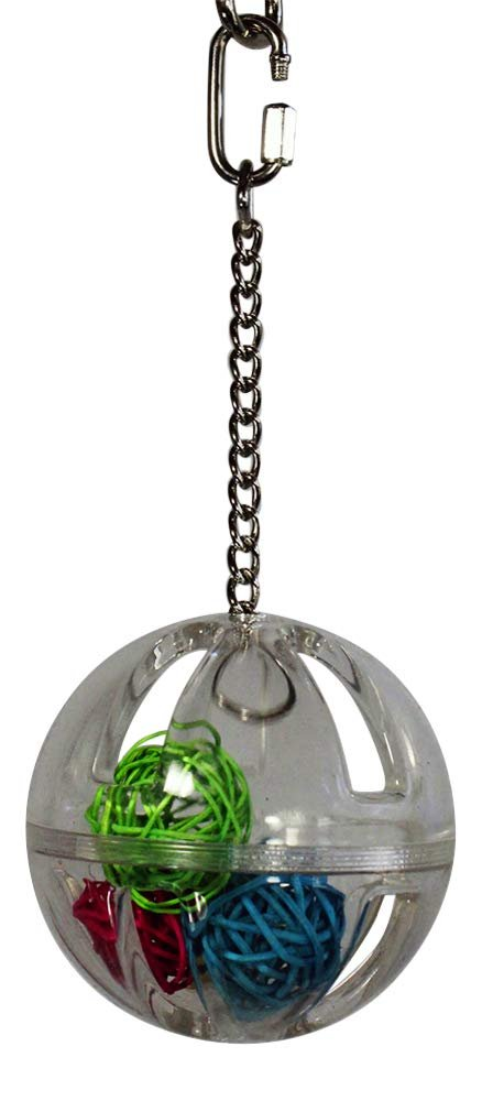 "Birds LOVE 3"" Hanging Clear Wiffle Balls Unscrew Foraging Medium and Large Bird Toy with Vine Balls Inside for Bird Cage"