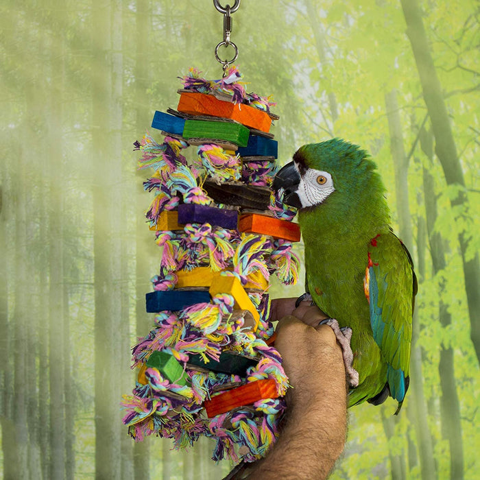 Birds LOVE Octo Wood Rope and Sisal Bird w Added Cardboard Pieces Toy for Bird Cage African Grey Amazon Macaw Cockatoo All Medium Large Birds
