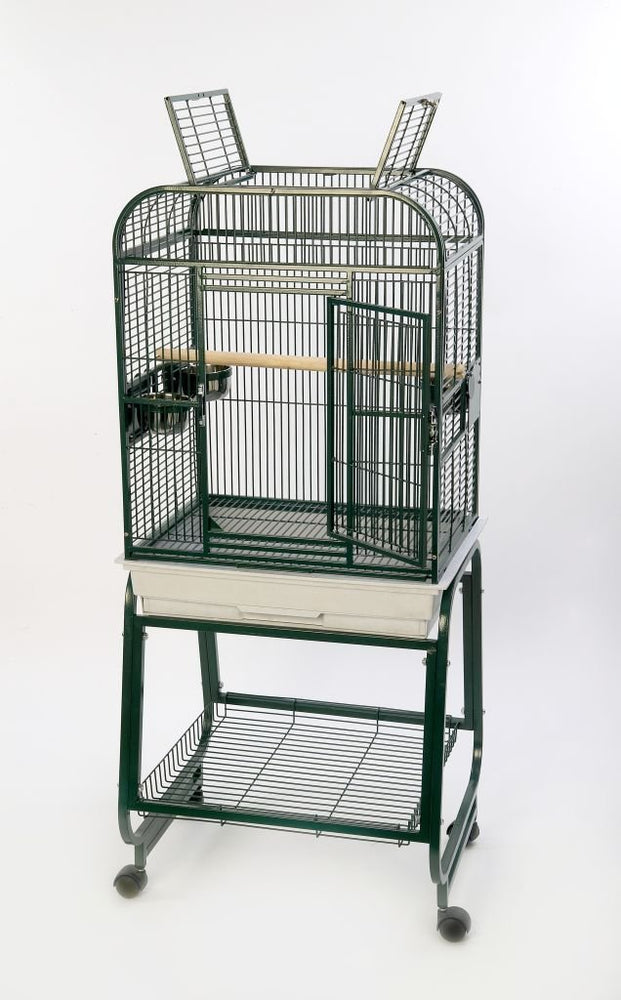 HQ 22x17 Opening Square Top Cage with Cart Stand - Platinum White