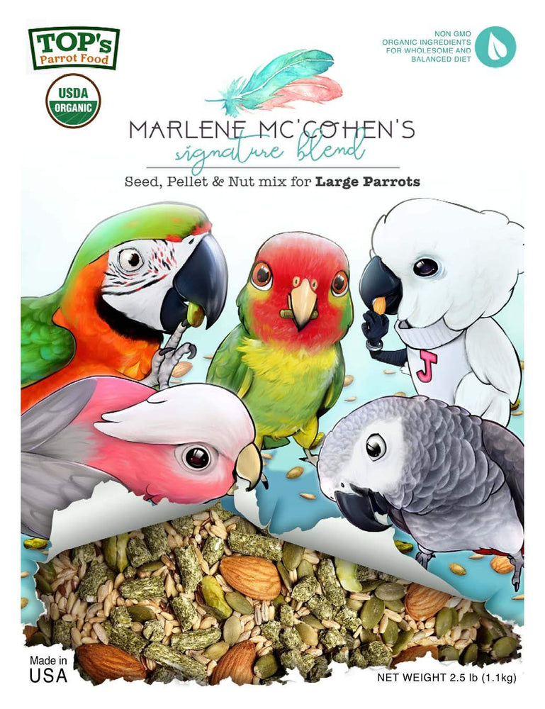 TOP's Parrot Food Marlene Mc'Cohen's USDA Organic Signature Blend Bird Seed...