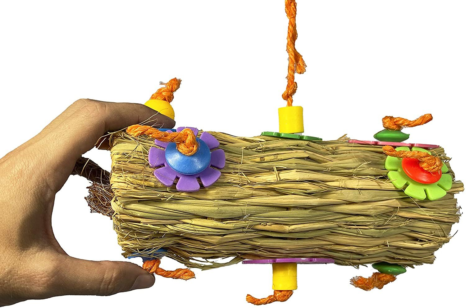Birds LOVE Coconut Fiber Burrito Parrot Toy, Foraging and Preening Fun for Medium Birds