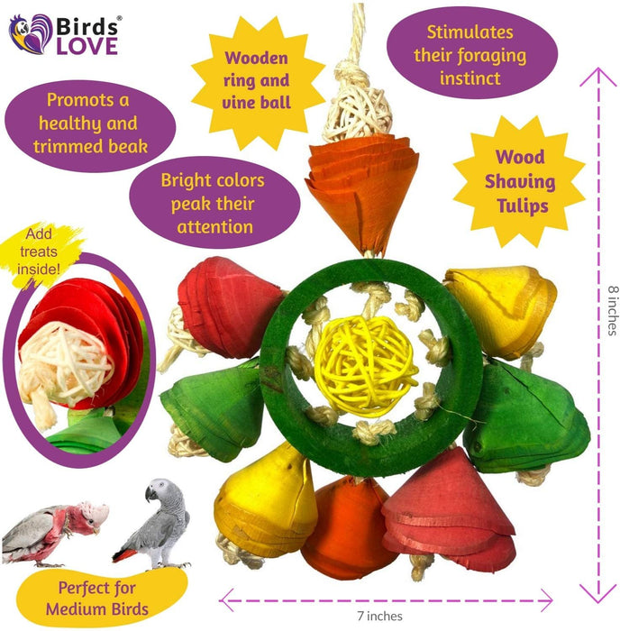 Birds LOVE Wood Tulips Parrot Toys for Small & Medium Birds, Chewing Hanging and Shredding Toy for Cage and Playgym