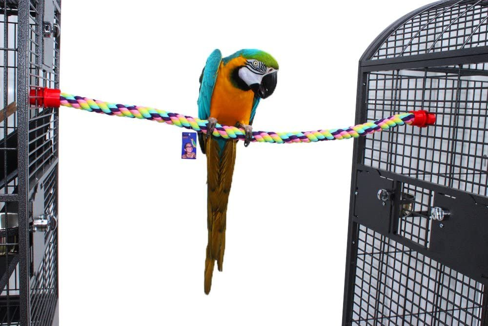 Birds LOVE Cotton Rope Comfy Cable Perches for Birds - Perfect for Cockatiels, Quakers, African Greys, Amazons, Eclectus, Macaws, Cockatoos and All Sized Birds - Choose The Right Size for Your Bird