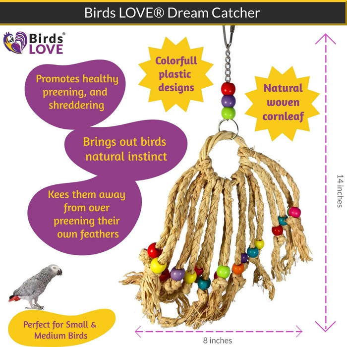 Birds LOVE Parrot Dream Catcher, Cage or Playgym, Chewing, Biting and Hanging Bird Toy for Small to Medium Parrots