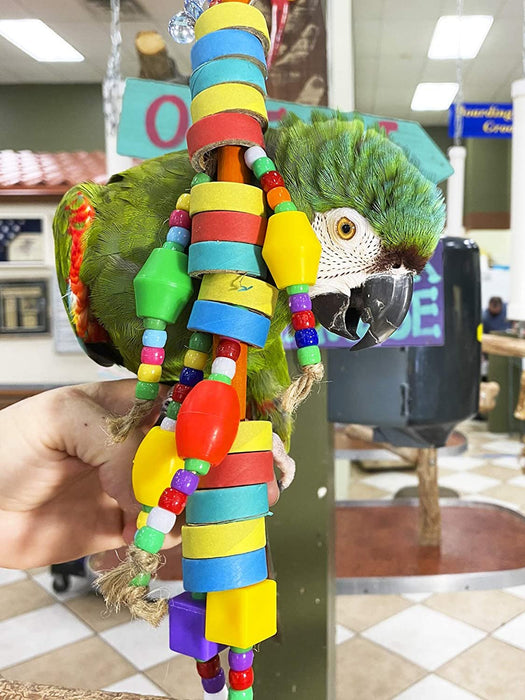 Birds LOVE Bagel Doll Parrot Toy w Plastic Beads for Small and Medium Birds